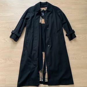 Classic Black Plaid Burberry Trench Coat Raincoat
